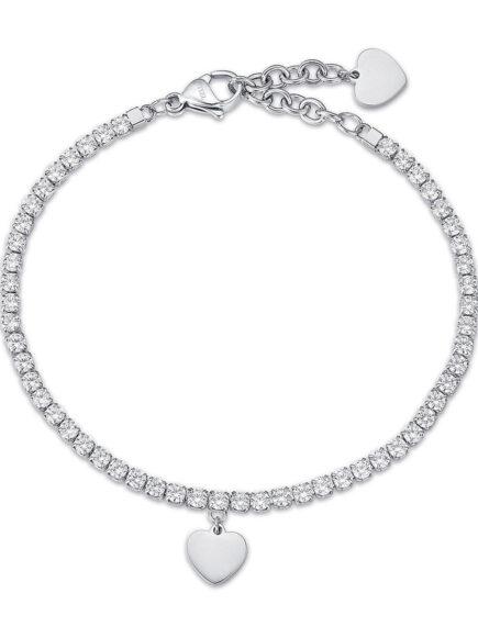 Bracciale donna in acciaio con cuore e cristalli bianchi