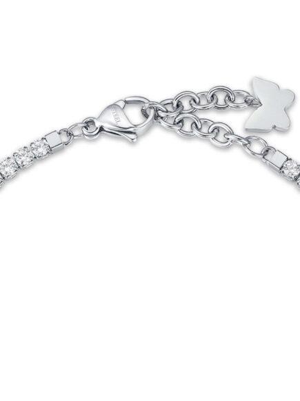 Bracciale in acciaio con farfalla e cristalli bianchi